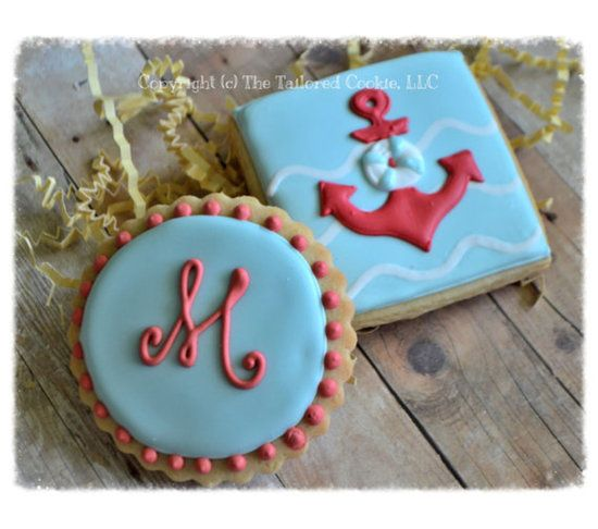 Monogram and Anker Nautical Shortbread Sugar Cookie Favors, $42.0