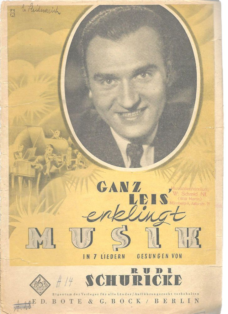 Rudi Schuricke Songbook German Ganz Leis Enklingt Vintage 1940's    | eBay