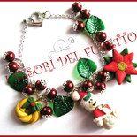 """Bracciale Natale """"Fufuorsetto con stella di Natale e ghirlanda foglie verdi"""" fimo cernit idea regalo kawaii 2014"""