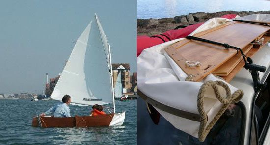 Origami folding dinghy with sailing rig