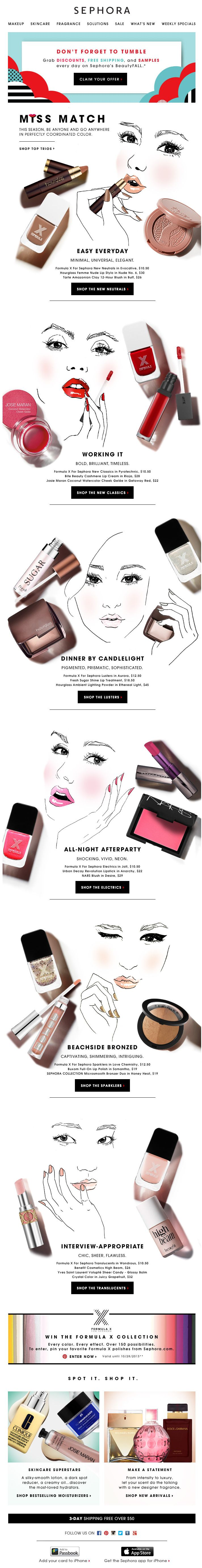 Sephora Beauty 1, 2, 3...liking the face illustrations