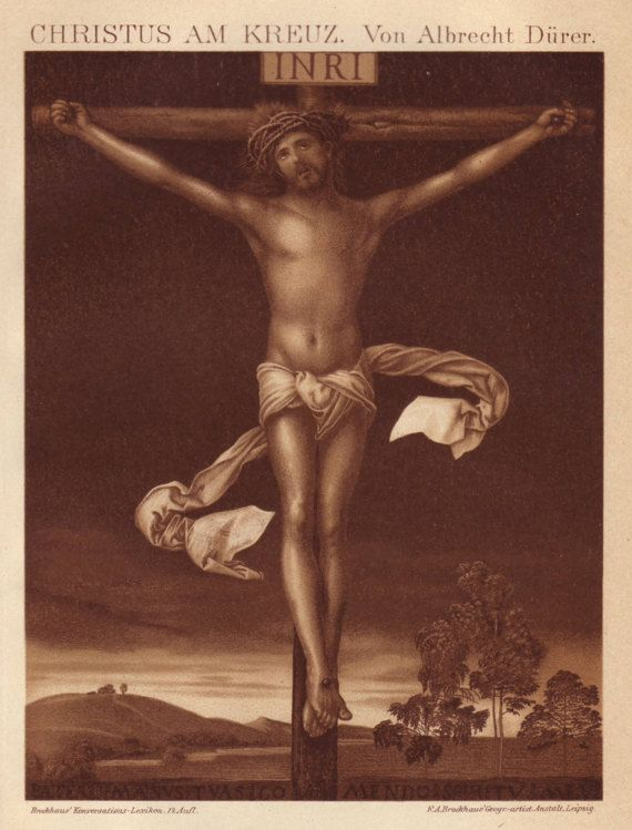 1908 Jesus Christ on the cross print  Wall decor by PaperThesaurus