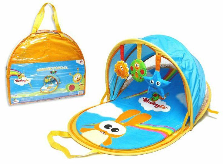 Gimnasio portatil, de suave textura para apoyar a tu bebé y protejer del sol, con figuras desmontables.