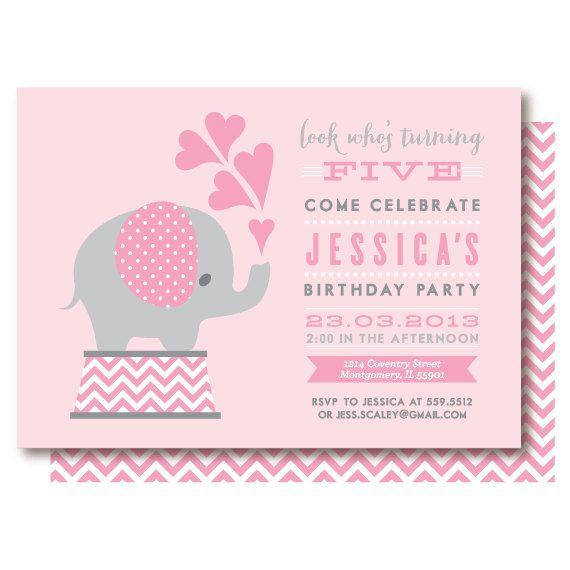 10 best images about Pink elephant invitation – Elephant Birthday Invitations