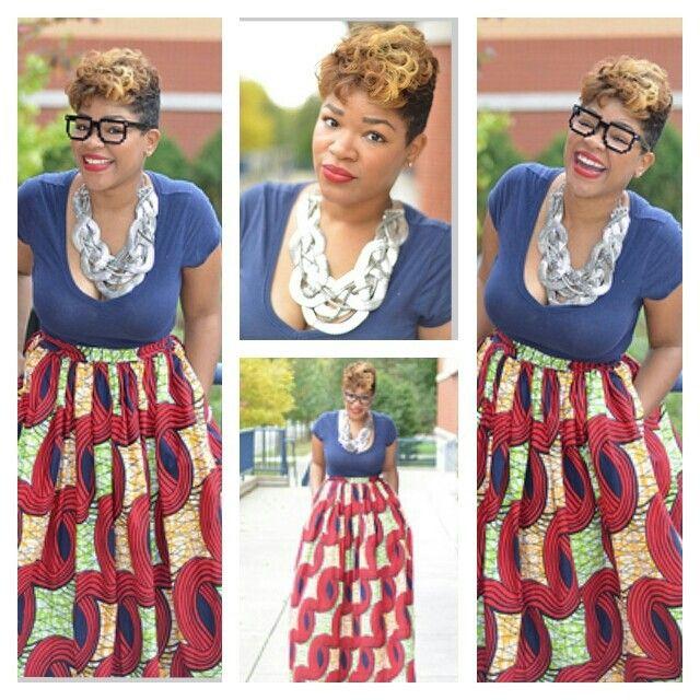 African print skirt www.melangemode.e...