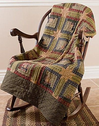 New Primitive Country Tea Stained Green Red LOG CABIN QUILT Quilted Throw #VHC