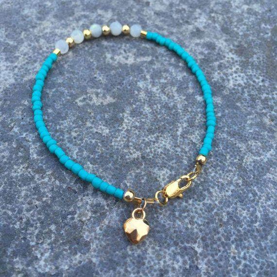 Turchese madre di perle & perline bracciale braccialetto del