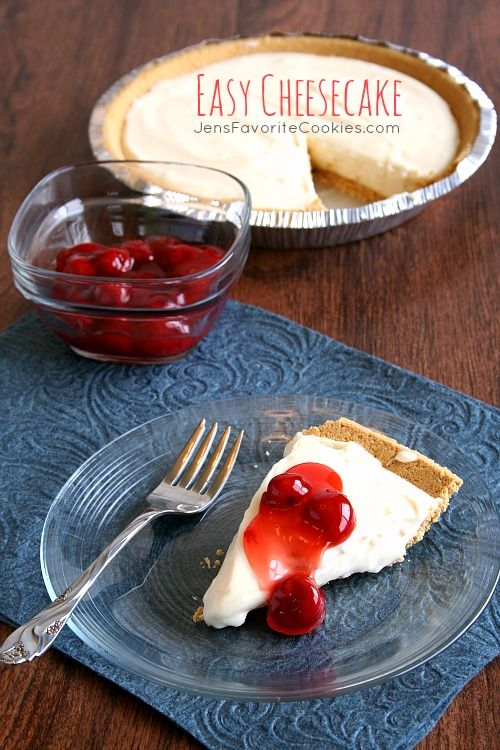 Easy Cheesecake. Super easy and no bake! just 8 oz. cream cheese, softened 1 can (14 oz) sweetened condensed milk ¼ cup lemon juice 1 prepared graham cracker crust 1 can pie filling of your choice (optional) Instructions Mix cream cheese, milk, and lemon juice together until smooth and creamy. Pour into prepared crust. Chill for 30-60 minutes. Serve with pie filling on top.
