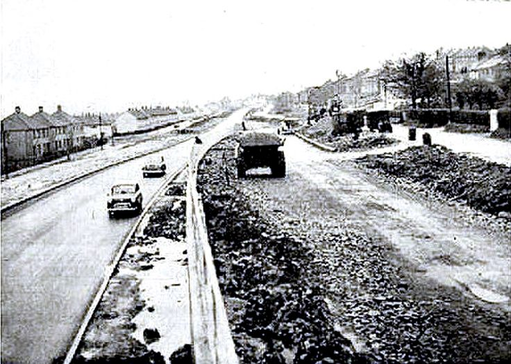 1960: Knock dual carriageway under construction, replacing the old Hill Foot Road