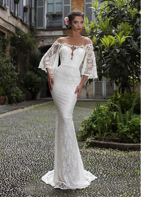 Magbridal Splendid Tulle & Lace Jewel Neckline Mermaid Wedding Dresses With Lace Appliques