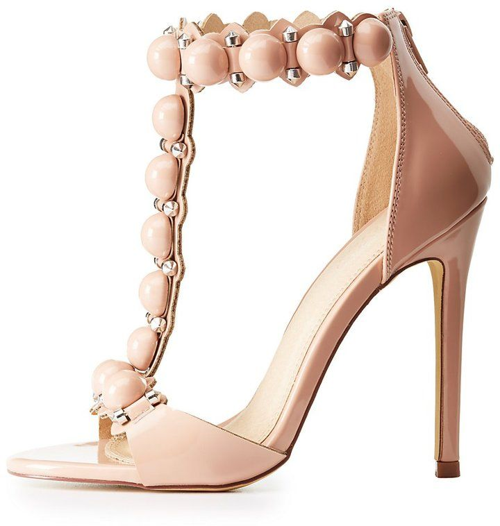 Charlotte Russe Beaded T-Strap Sandals