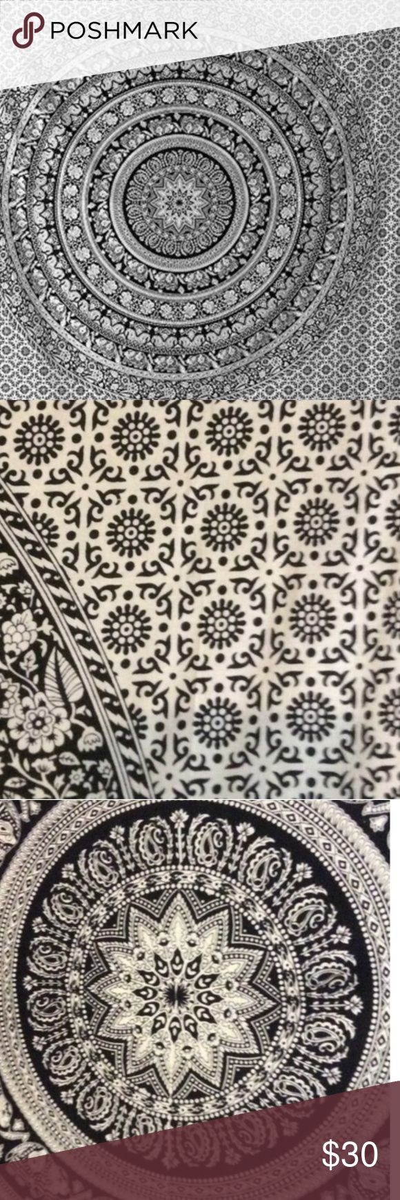 Large Black and white mandala tapestry As seen in american outfitters, this generic tapestry is a multipurpose use piece of art . Use for a day at the beach, picnic, bed spread, curtain, furniture cover, outdoor decoration, wall decoration etc. 100% cotton , hand made in india. Approximate size of queen bed sheet. Medium size also available at $20 happy poshing Urban Outfitters Accessories