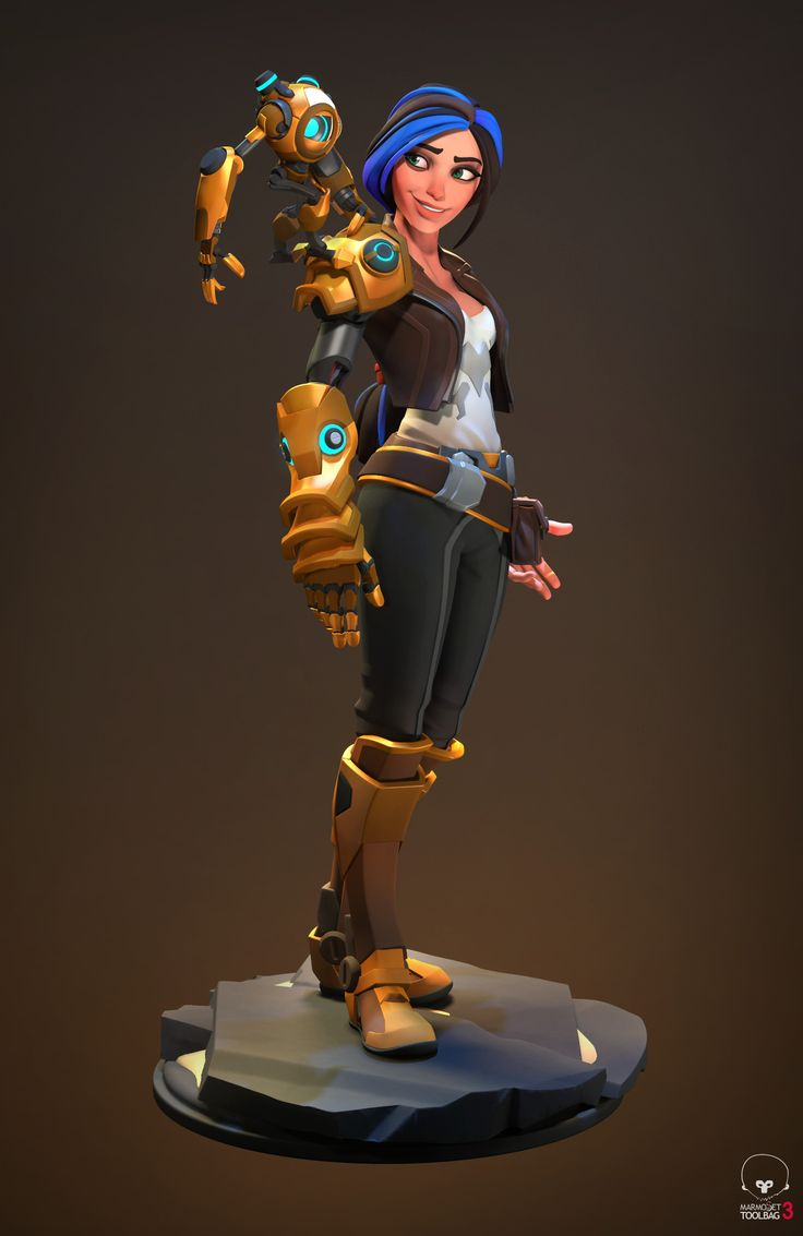 Personal work. I did it in my free time for pleasure. I originally intended to make it with a weapon that I even modeled, but with it it did not look very interesting and I focused more on the friendship with her robot. Most of the sculpted and modeled in Zbrush. I also tried to think over the moving parts that they would have a sufficient degree of freedom and were logical.