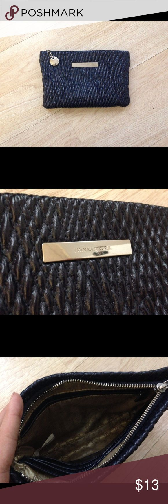 Ivanka trump dark navy clutch Cute patterned dark navy blue clutch by ivanka trump it's in great condition, just has a few small scratches on the name plate . Ivanka Trump Bags Clutches & Wristlets
