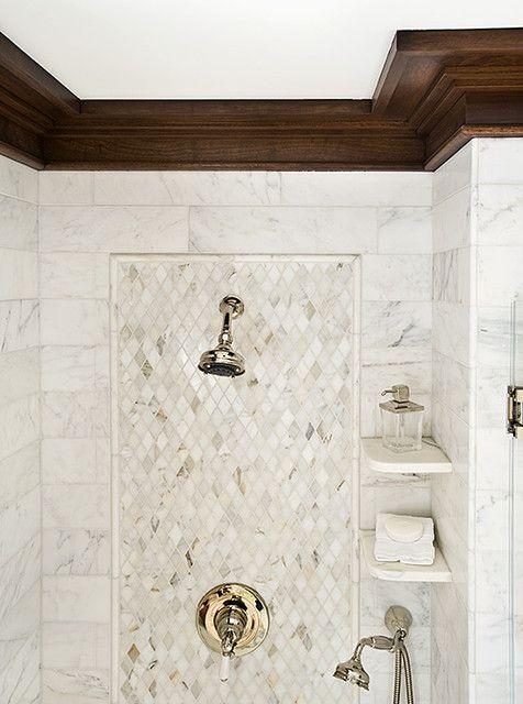 Shower Tile pattern. Handheld shower, shower shelves