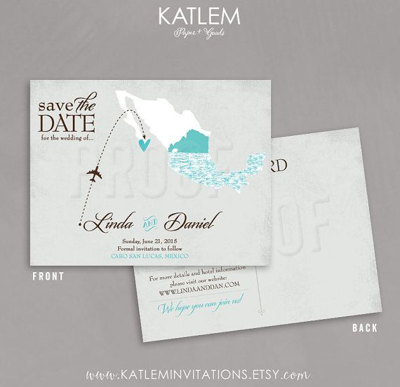 Mexico Save the Date Destination Wedding Save by katleminvitations