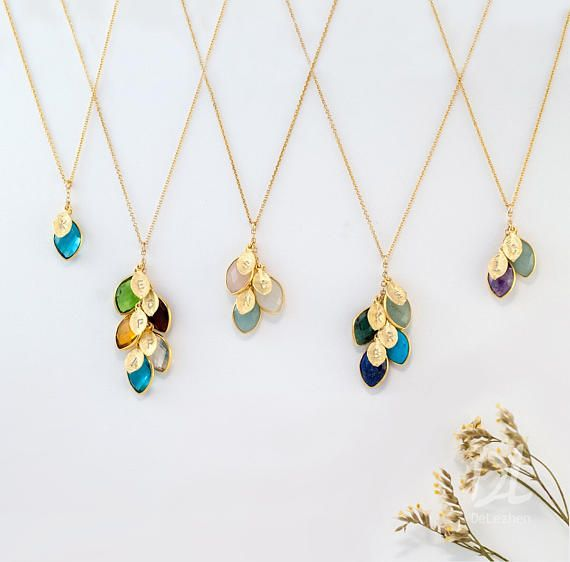 Personalized Mothers Gift - Family Tree Necklace- Mothers Birthstone Necklace - Grandma Necklace - Initial Leaf Cascade