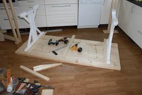 Fremgangsmåte for hjemmelaget spisebord og benk