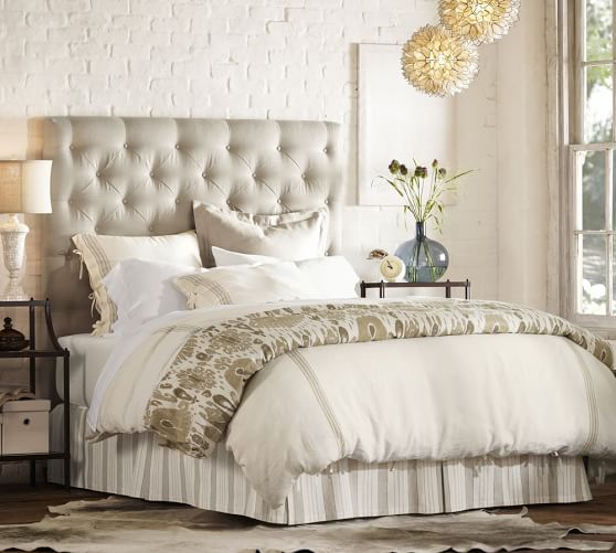 Lorraine tufted upholstered tall bed headboard pottery barn master bedroom bathroom Master bedrooms with upholstered beds