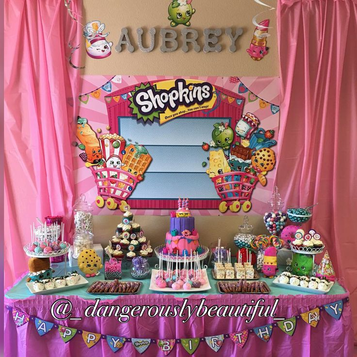 made my daughter this beautiful shopkins candy table shopkins party ideasshopkins