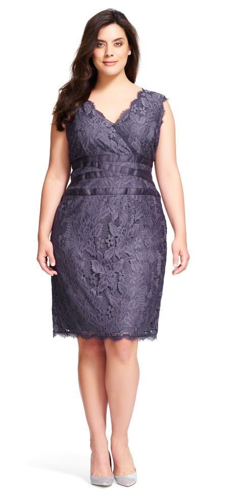 Adrianna Papell   Sleeveless v neck large stretch floral lace cocktail dress with banded waist detail