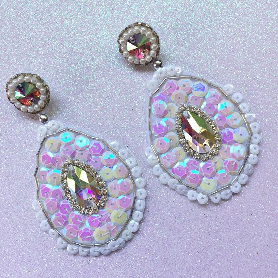 Large White Statement Dangle Earrings