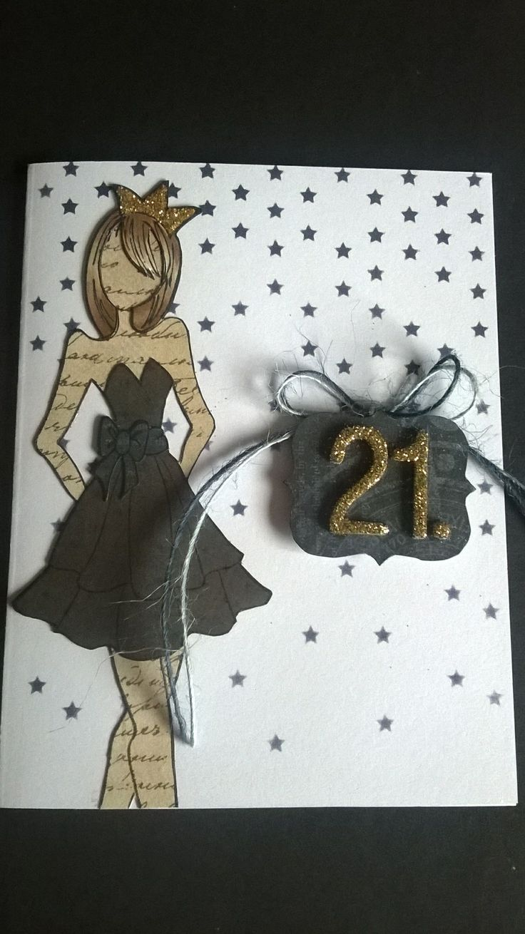 Card Making Ideas 21st Birthday Part - 30: More Prima Doll 21st Birthday Card