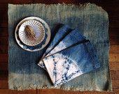 Natural Indigo Shibori Hand Dyed Dinner Napkins