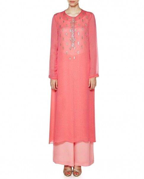 Coral pink straight fir kurta with gota patti work adorning the yoke. Round neckline with hook and eye placket. Full sleeves. Wash Care: Dry clean onlyMatching palazzo pants included