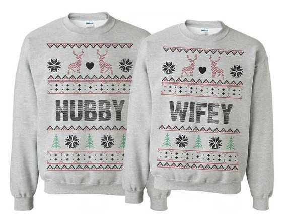 Tacky Couples Sweatshirts Winter Wedding by AlisonWunderlandAcc