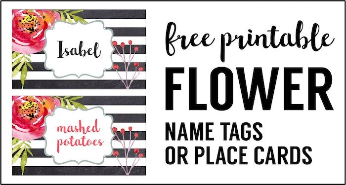 Free Printable Food Tags