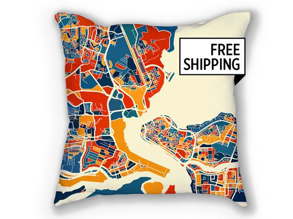 Lagos Map Pillow  Nigeria Map Pillow 18x18