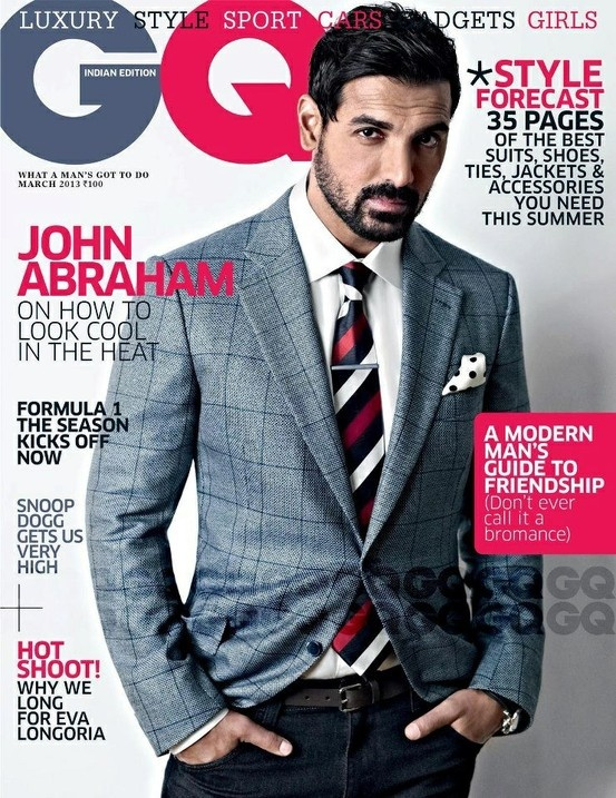 John Abraham On The Cover of GQ Magazine March 2013.