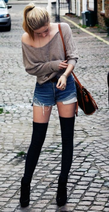 Black thigh highs with black shoes make legs look miles long!