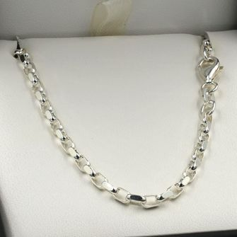 60cm Sterling Silver DC Oval Belcher Chain Necklace - SN-BO2D