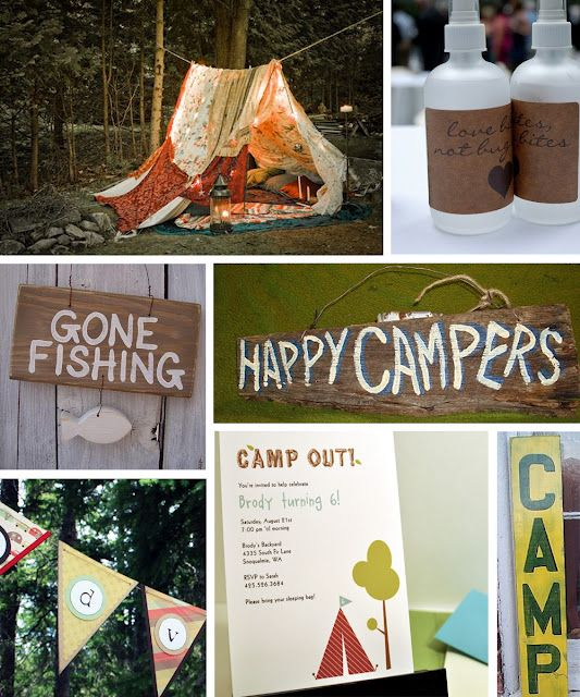 "Fantastic ideas for backyard campout birthday party -- ""cowboy"" food, cakes, decorations, tents"