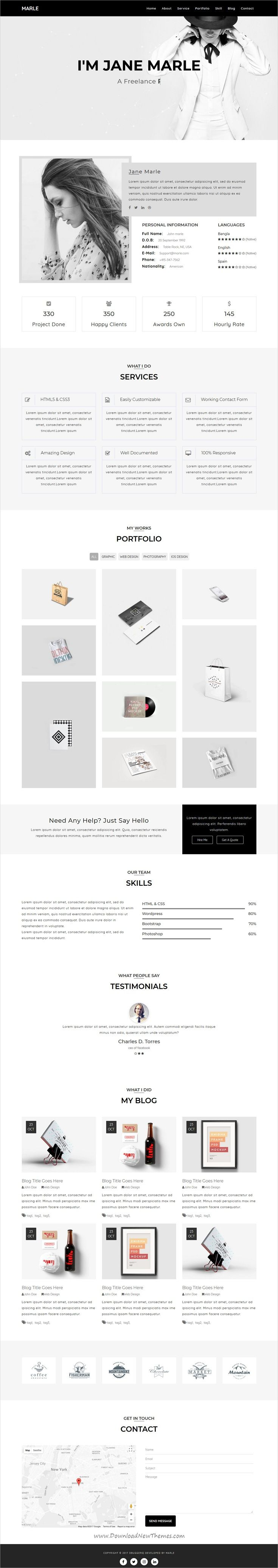 Marle is clean and modern design responsive #HTML template for onepage #resume and #portfolio showcase website download now..