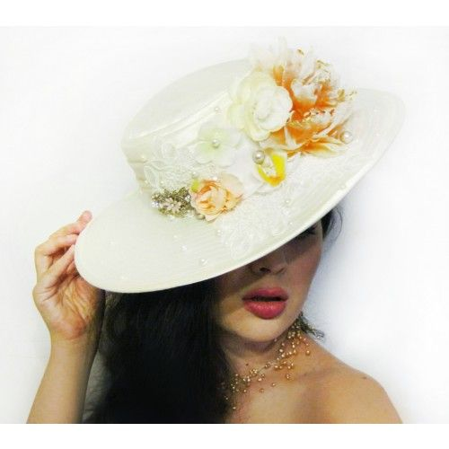 Bridal Ivory Hat #accessories #fashion #headpiece #hat #headdress #hairstyle #wedding #bridal #crystal #glamour #chic #millinery #romantic #fantasy #derbyhats #hats #flowers #swarovski #weddingheadpiece #collection #fairy #weddings #look #whitehat