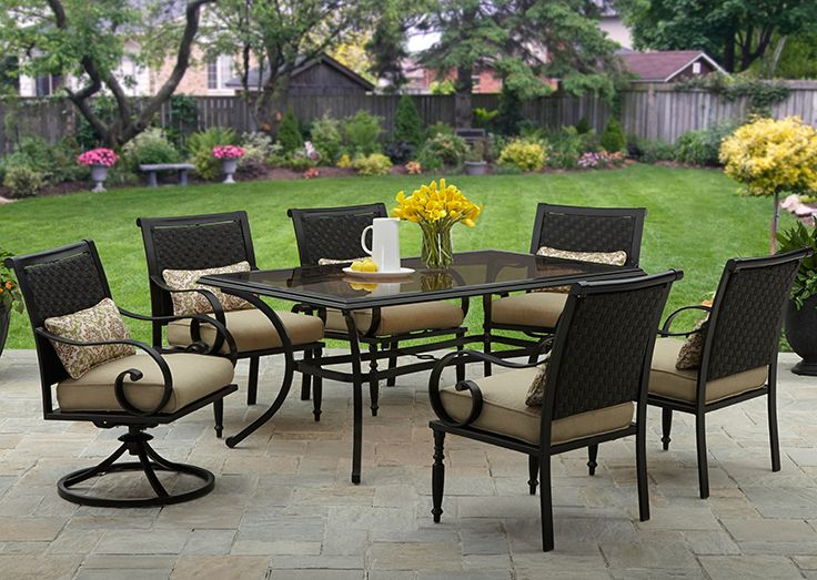 better homes and gardens englewood heights ii 7 piece patio dining set seats 6 - Better Homes And Gardens Outdoor