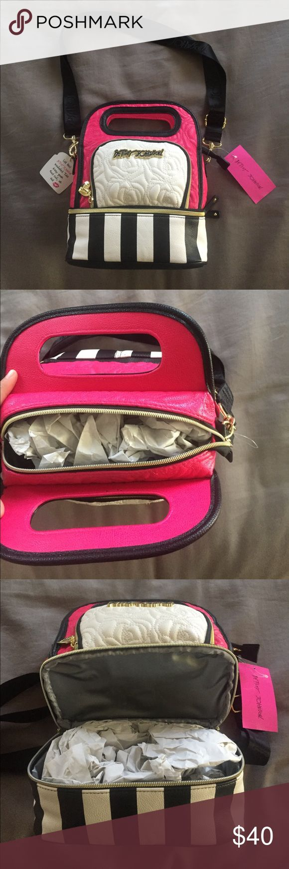 💗Betsy Johnson insulated lunch tote NEW* never used. Black strap comes off Betsey Johnson Bags Totes