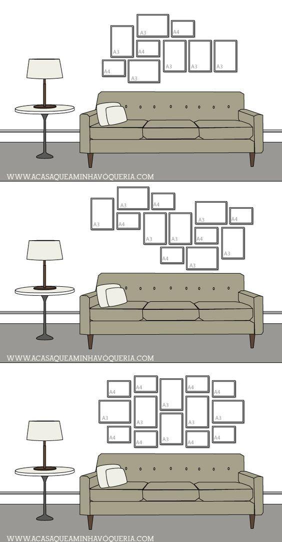 16 formas de harmonizar quadros na parede utilizando apenas molduras A3 e A4: