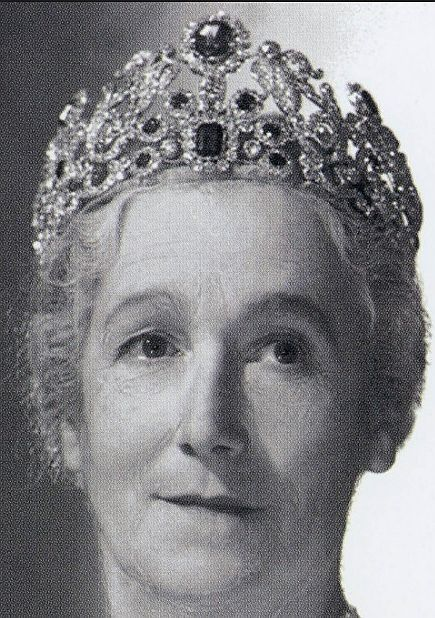 Between the Coronation of George VI in 1937, and the Coronation of his eldest daughter, Elizabeth II in 1953, Sybil Sassoon's diamond and sapphire tiara underwent a remodeling which added a large emerald-cut sapphire and six smaller sapphires as a central motif.