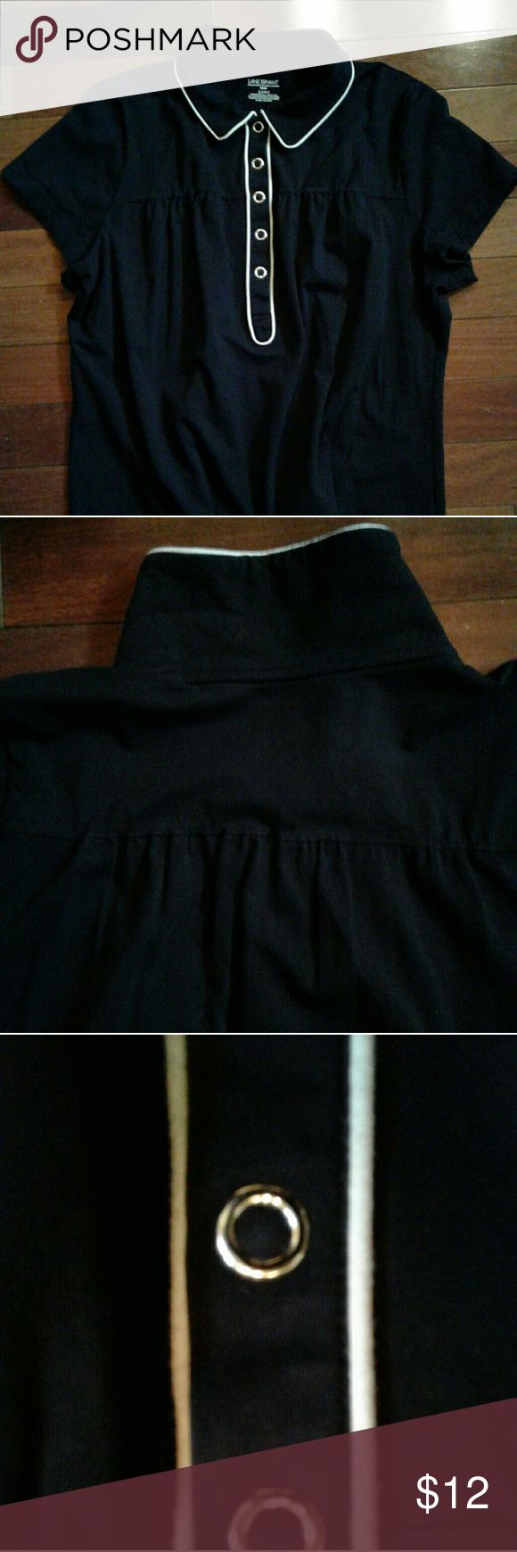 Lane Bryant black comfy shirt Women's black short sleeve top with white borders by Lane Bryant. Round collar, quality silver snaps and a roomy feel for comfort. Great pre-loves condition!! Lane Bryant Tops Blouses