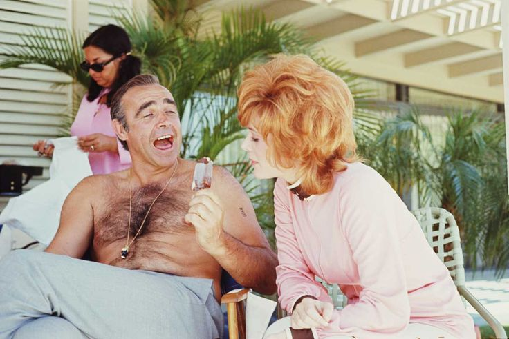 Sean Connery teasing Jill St John with an ice cream on the set of Diamonds Are Forever 1971 | Rare and beautiful celebrity photos