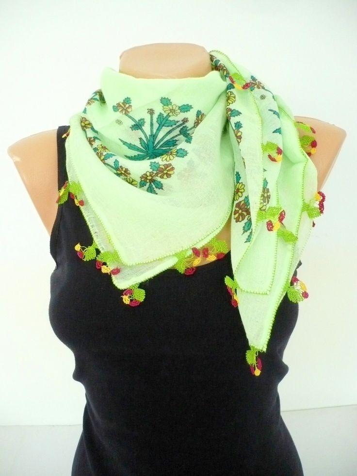 Turkish needle laced antique scarf / Handicraft vintage foulard / cotton, sea green, floral printed versatile kerchief / unique gift idea by TurkishHands on Etsy