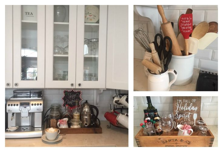 Kitchen Warm Up Stations. Christmas Coffee & Hot Cocoa Station & Drink Tray