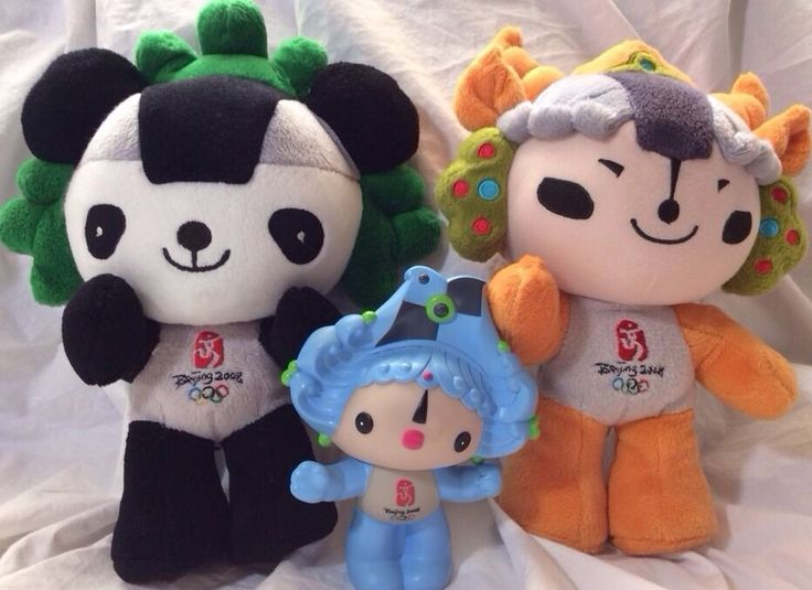 "Rare 2008 Beijing Olympic Mascot Beibei Figure Hard Plastic 4 1/2"" lot"