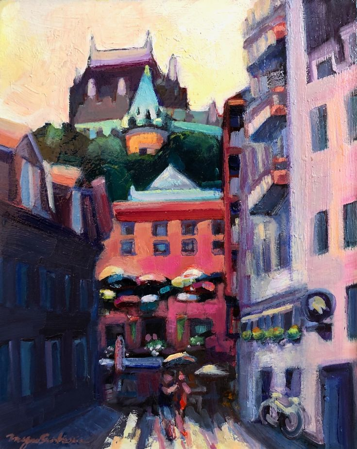 """This painting, """"Rainy Day Quebec City Love"""" by Monique"""