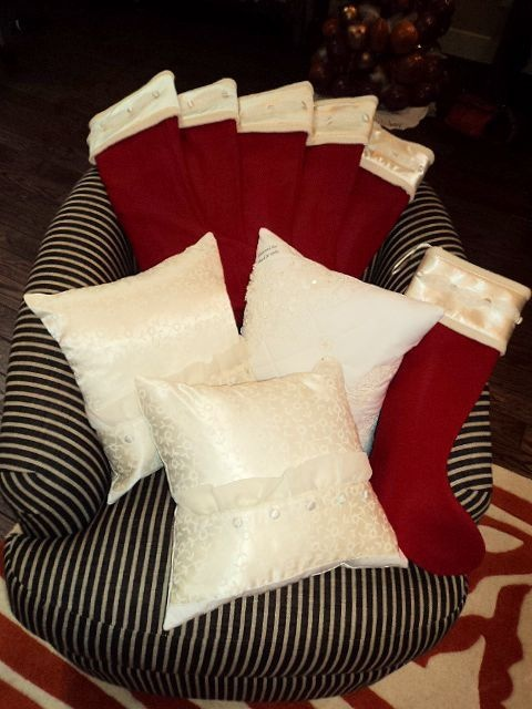 Pillows and Christmas Stockings made from a wedding dress - by Keepsake Threads