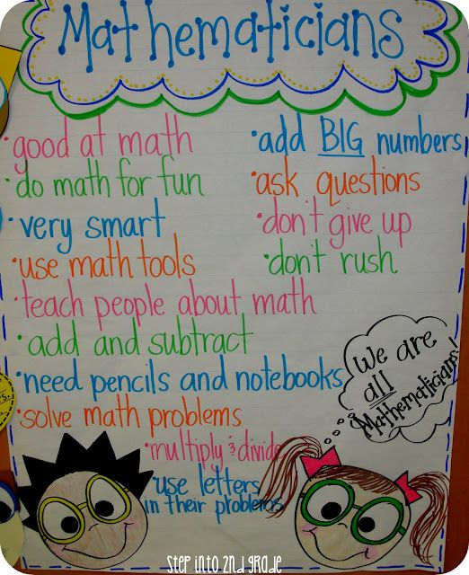 """""""Mathematicians"""" anchor chart from Step into 2nd Grade with Mrs. Lemons (good for 1st week of school)."""
